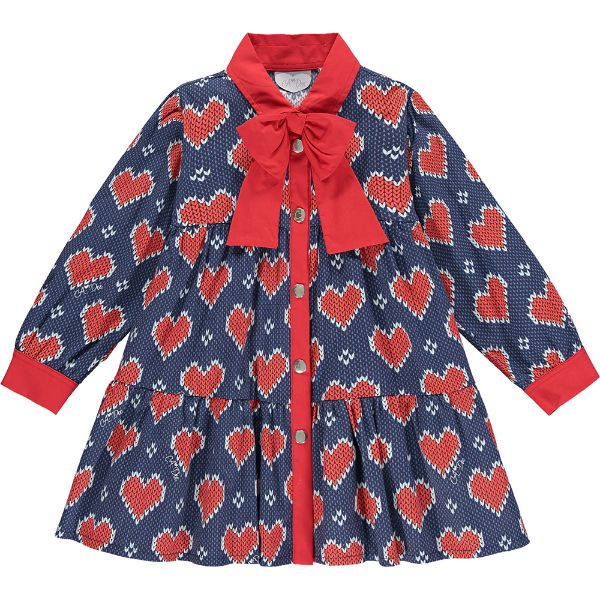 Picture of Ariana Dee Girls 'Remy' Navy Heart Print Dress