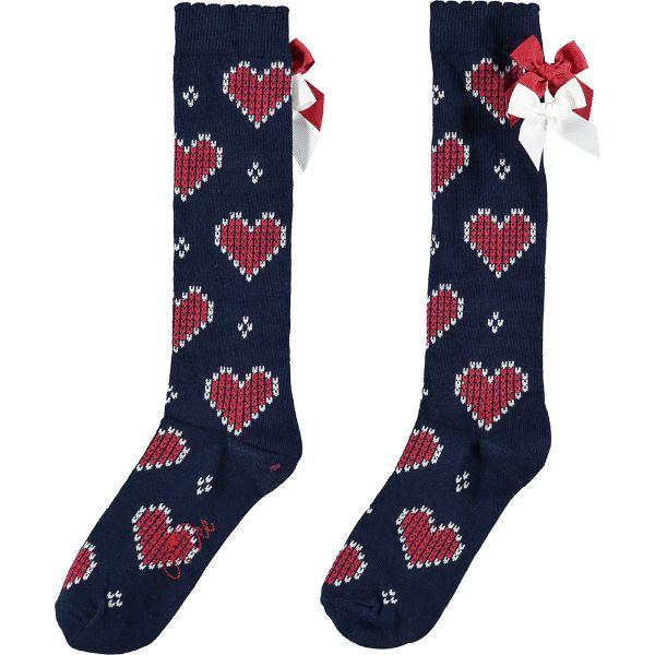 Picture of Ariana Dee Girls Navy Heart Knee Socks