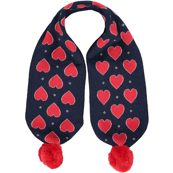 Picture of Ariana Dee Girls Navy Heart Knitted Scarf