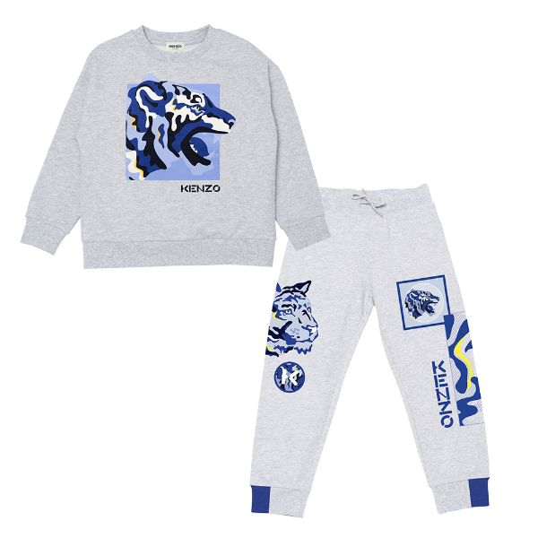 Picture of Kenzo Boys Grey & Blue Tracksuit