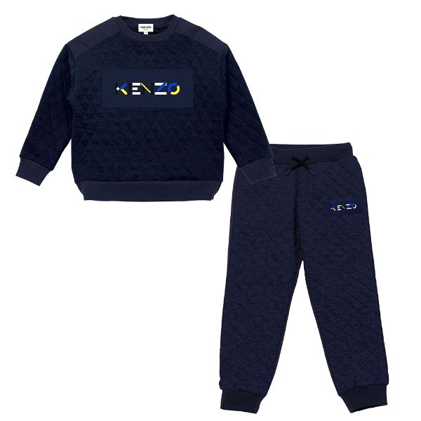 Picture of Kenzo Boys Navy Quilted Tracksuit