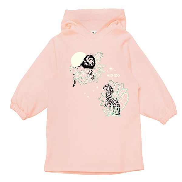 Picture of Kenzo Girls Pink Hooded Jumper Dress