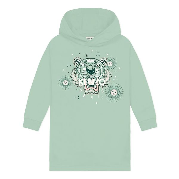 Picture of Kenzo Girls Mint Green Tiger Hooded Jumper Dress