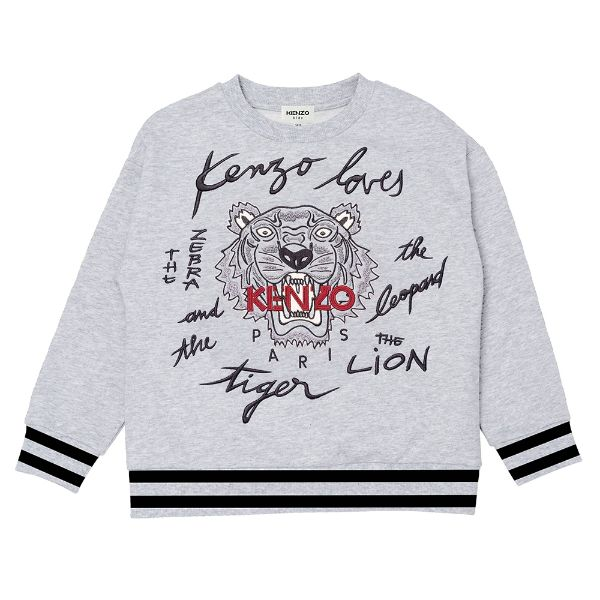 Picture of Kenzo Boys Grey & Black Tiger Jumper
