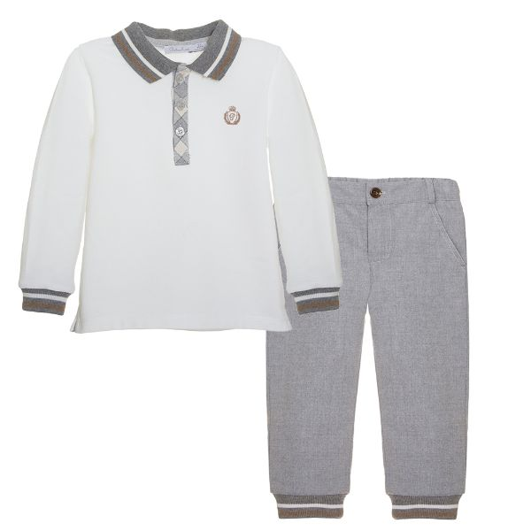 Picture of Patachou Boys Grey Polo & Pants Set