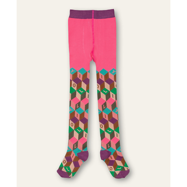 Picture of Oilily Girls Moosh Pink Printed Tights