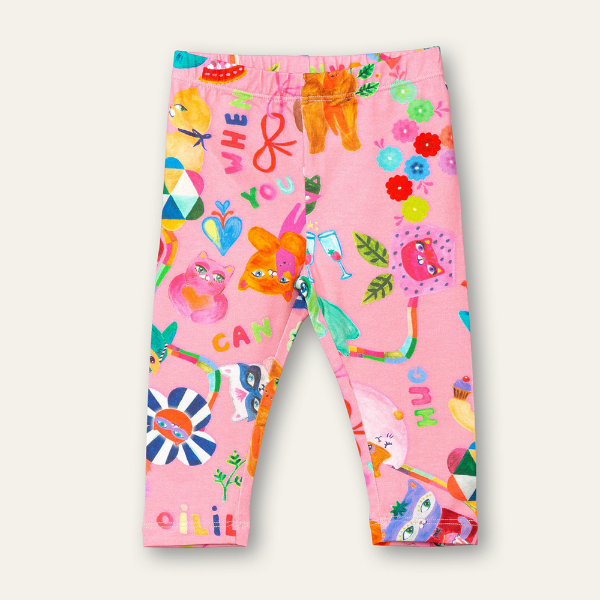 Picture of Oilily Girls Peppy Pink Printed Leggings