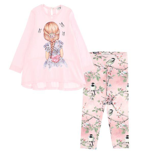 Picture of Monnalisa Girls Pink Printed Leggings Set