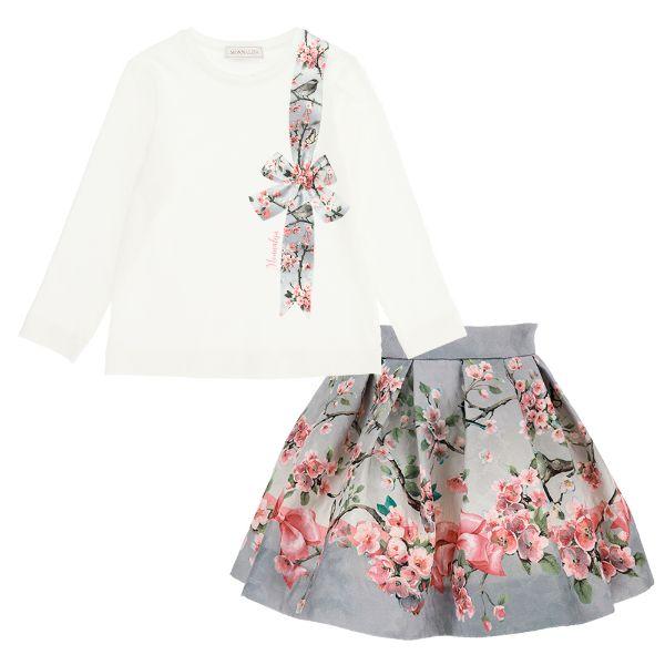 Picture of Monnalisa Girls Grey Flower Printed Top & Skirt Set