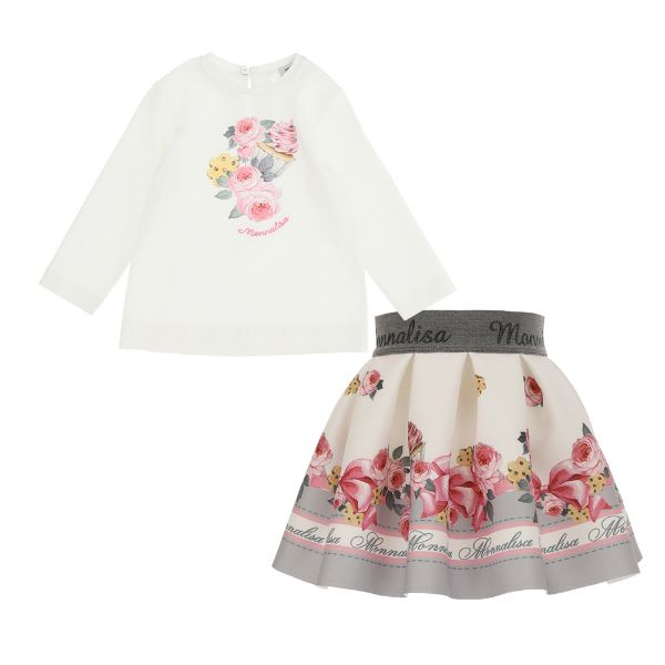 Picture of Monnalisa Baby Girls Flower Top & Skirt Set