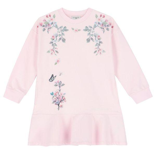 Picture of Monnalisa Girls Pink Flower Jumper Dress