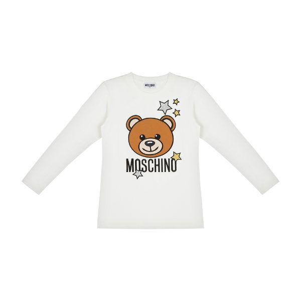 Picture of Moschino Girls White Teddy Star T-Shirt