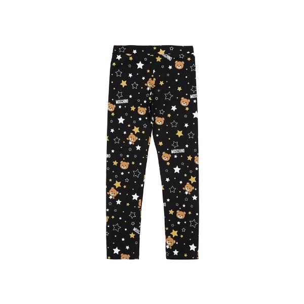 Picture of Moschino Girls Black Star Print Leggings