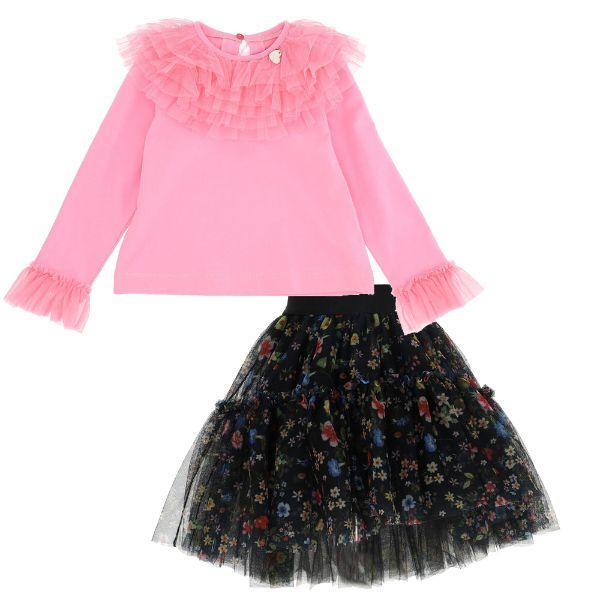 Picture of Monnalisa Girls Pink Top & Black Printed Tulle Skirt