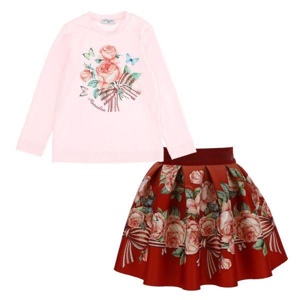Picture of Monnalisa Girls Rose Top & Red Skirt Set