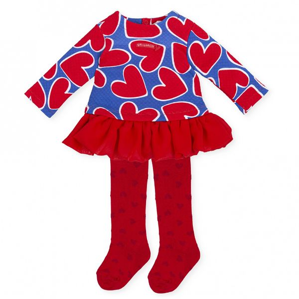 Picture of Agatha Ruiz De La Prada Baby Girls Red & Blue Heart Dress & Tights