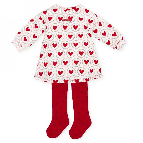 Picture of Agatha Ruiz De La Prada Baby Girls White & Red Heart Dress & Tights