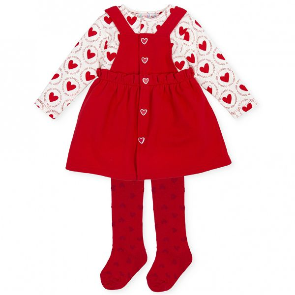 Picture of Agatha Ruiz De La Prada Baby Girls Red Heart Print Dress with Tights