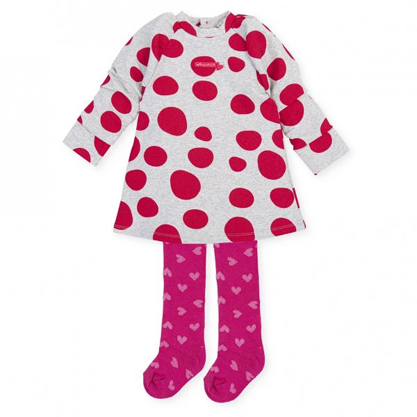 Picture of Agatha Ruiz De La Prada Baby Girls Grey & Pink Spot Dress & Tights