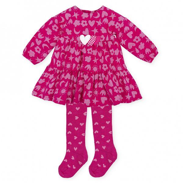 Picture of Agatha Ruiz De La Prada Baby Girl Pink Printed Dress & Tights