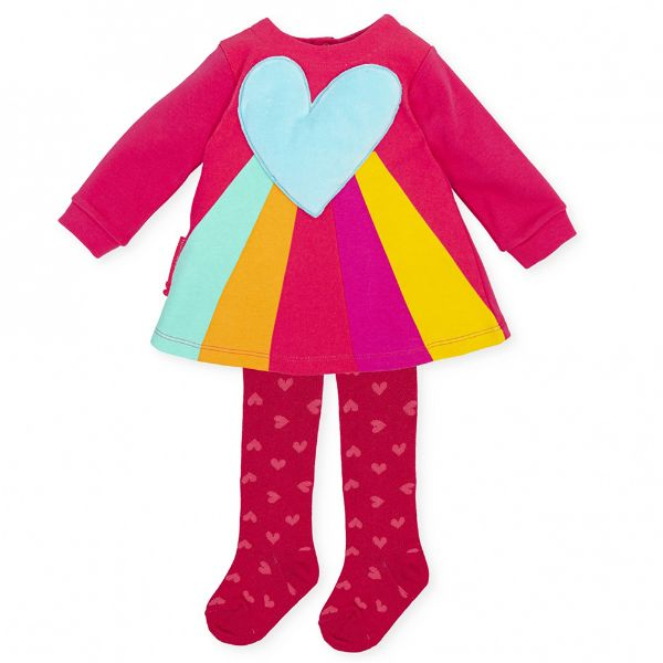 Picture of Agatha Ruiz De La Prada Baby Girls Pink Heart Stripe Dress & Tights