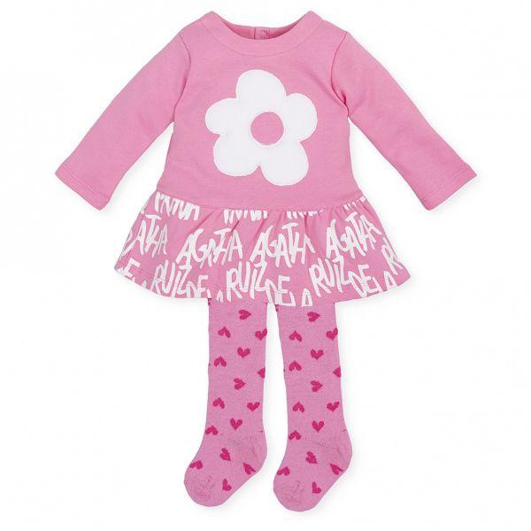 Picture of Agatha Ruiz De La Prada Baby Girls Baby Pink Dress & Tights