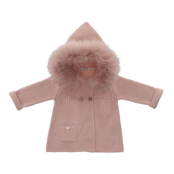Picture of Martin Aranda Girls Pink Cardigan with Fur Trim Hood