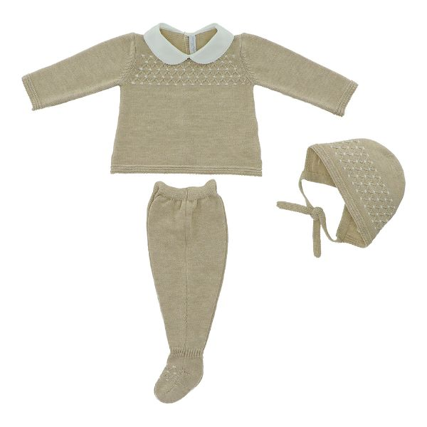 Picture of Martin Aranda Boys Beige Knitted Suit with Hat