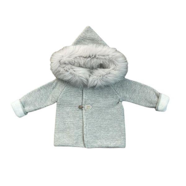 Picture of Martin Aranda Grey Cardigan with Fur Hood