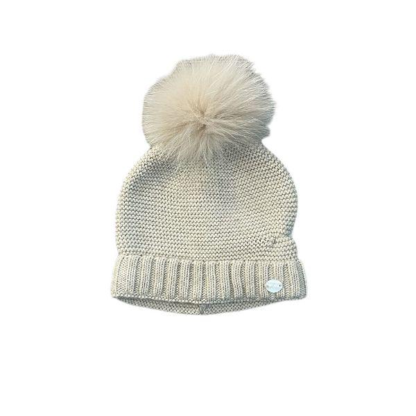 Picture of Martin Aranda Beige Hat with Fur Pom Pom