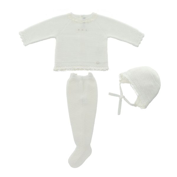 Picture of Martin Aranda Girls Cream Knitted Set with Hat