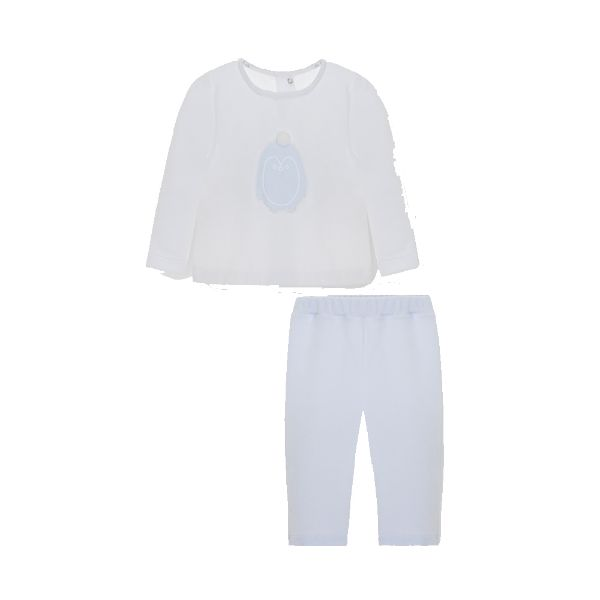 Picture of Pom Petit Pom Baby Boys Blue & White Velour Set