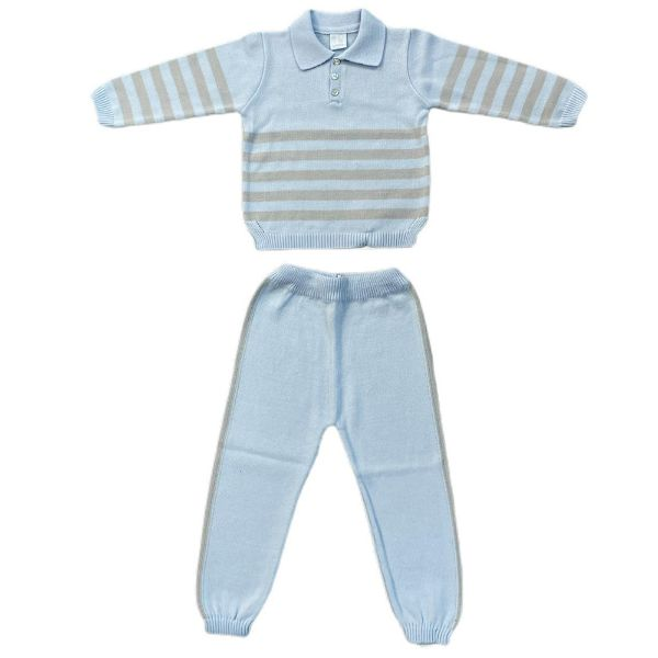 Picture of Granlei Boys Blue & Grey Knitted Tracksuit