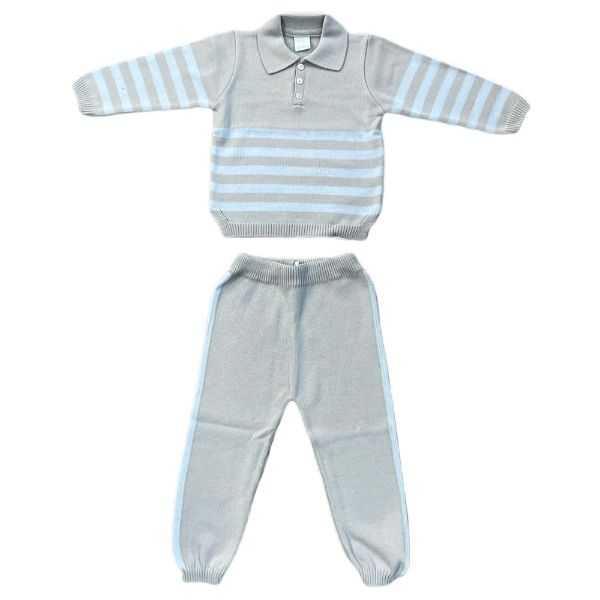 Picture of Granlei Boys Grey & Blue Knitted Tracksuit