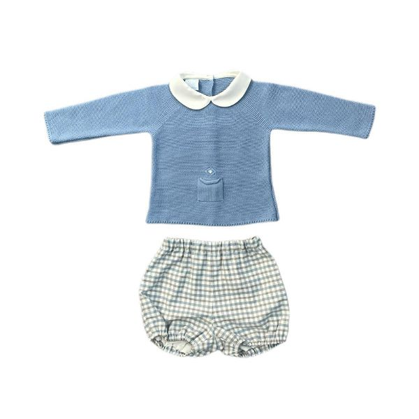 Picture of Granlei Boys Blue Knitted Jumper & Checked Shorts