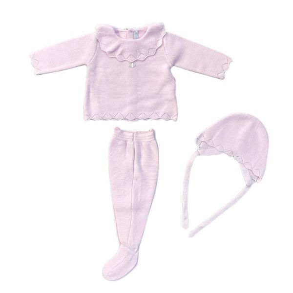 Picture of Martin Aranda Girls Pink Knitted Set with Hat