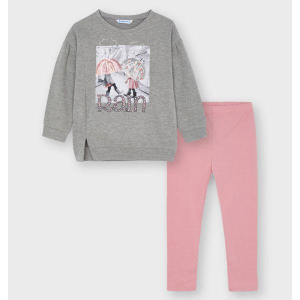 Picture of Mayoral Girls 'Rain' Grey & Pink Leggings Set