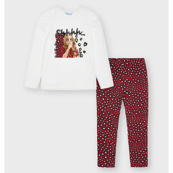 Picture of Mayoral Girls Red Leopard Leggings Set
