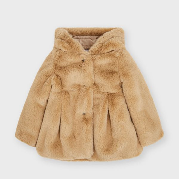 Picture of Mayoral Girls Beige Faux Fur Coat