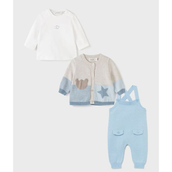 Picture of Mayoral Baby Boys Blue Knitted 3 Piece Set