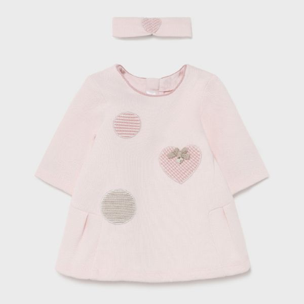 Picture of Mayoral Baby Girls Pink Dress with Hairband