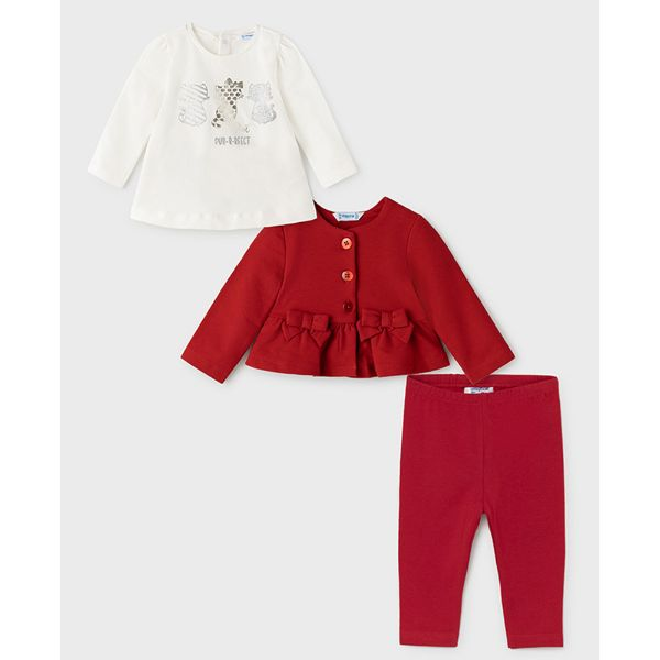 Picture of Mayoral Baby Girls Red 3 Piece Leggings Set